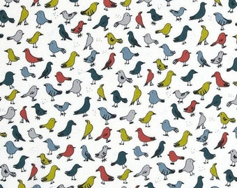 Fabric VeloCity Jessica Hogarth for P&B Textiles Birds White 100% Cotton Fabric