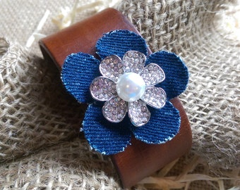 Brown or black Leather Cuff Bracelet with Denim Flower