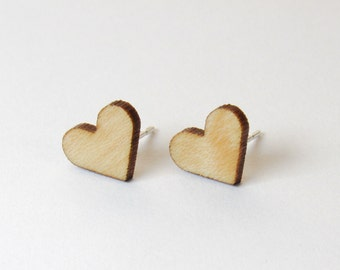 Heart Stud Earrings - Maple Wood / Sterling Silver