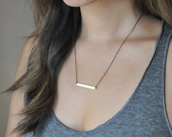 Brass Bar Necklace, Layering necklace, Dainty necklace, Simple Necklace
