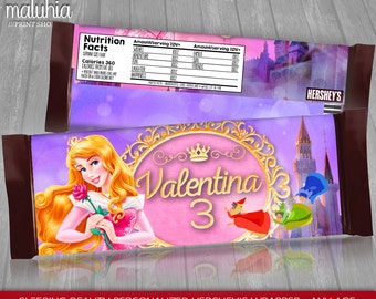 Sleeping Beauty Hershey Candy Bar Wrappers - PERSONALIZED - Disney Aurora Hershey's Chocolate Party Printable - Sleeping Beauty