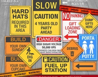 Construction Party Signs - INSTANT DOWNLOAD - 38 Construction Signs Party Decorations - Little Worker Party - Caution Danger Road Signs