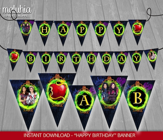 Disney Descendants Birthday Banner