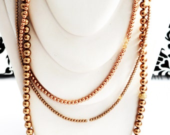 "Necklace with Swarovski crystals pearls ""Bronze"""