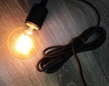 Retro decoration, light cable with E27 socket and light switch, Stoffummantelt, vintage, decor, black
