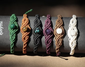 Macrame bracelets with minerals