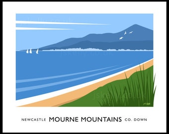 Newcastle and the Mourne Mountains - vintage style railway travel poster art of Ireland