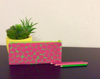Pencil Case, Pink and Green, Back to School, Work Pencil Case, Zipper Pouch, Pencil Pouch