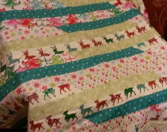 Pastel colour's christmas quilt/throw