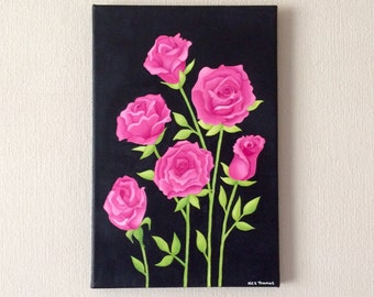 Original watercolour and acrylic painting on canvas, pink roses.