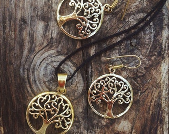 """Earrings and pendant in brass """"tree of life"""""""