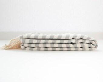 SALE %40 Cabana Gray Stripe Authentic Towel   Turkish Towel   Bath Towel   Beach Towel   Peshtemal Towel   Natural Cotton   Eco Friendly