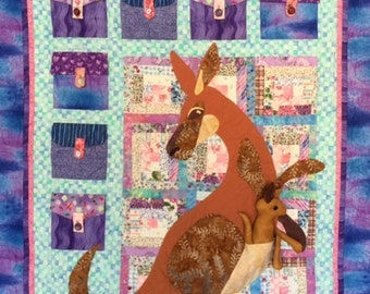 Kangaroo Pockets Quilt, Applique Kangaroo Quilt with Pockets, Handmade Kangaroo Quilt