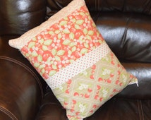 "Quilted Pillow Cover, 13"" x 17"", Modern Design, Strawberry Fields by Fig Tree & Co for Moda"