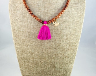 Necklase/Wood Short Necklase with Cotton Tassel and Butterfly Charm in gold filled