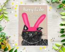 Printable Easter Bunny Cat Card, Funny Easter Spring Card, Digital Download, Last Minute Gift