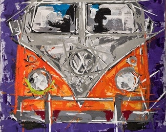 VW Camper van Painting ... orange vw camper