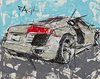 Audi R8 Print // Audi Art  //  car art // R8 print // vehicle print //  sports car artwork  //