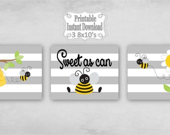 Printable Bumble Bees Baby Nursery Wall Art Decor in Grey Yellow Black Bumblebees Baby Child Kids ~ DIY Instant Download ~ 3 8x10 Prints