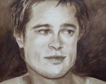Portrait of Brad Pitt painting watercolor original sepia color