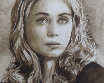 Portrait of Emmanuelle Beart, French film actress, painting original sepia watercolor