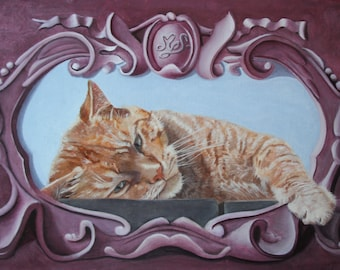 Portrait of a red cat in baroque frame faux, oil painting
