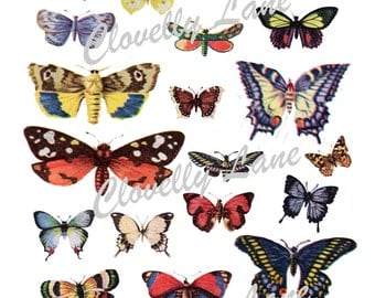 24 Butterflies Vintage Images INSTANT printable Digital Download for jewellry, scrap booking, collage
