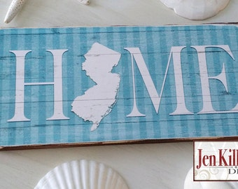 """New Jersey Sign / """"Home"""" Wood Sign / Jersey Shore /  Home Sign / State Sign / NJ Art  / NJ Wood Sign"""