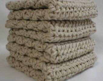 "Handmade Crochet Washcloths Dishcloths 4-Pk Beige 8"" (#5910)"