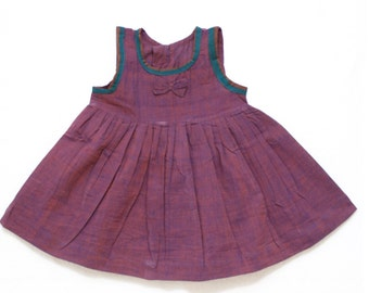 Maroon Frock with Green Piping