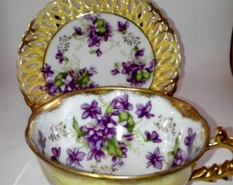 Violets Teacup and Saucer set