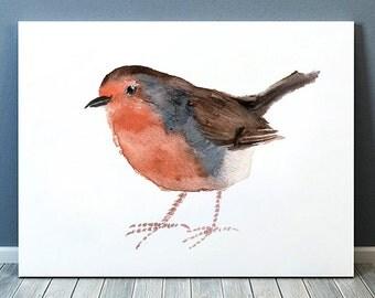 Robin print Cute bird watercolor Nursery art ACW79