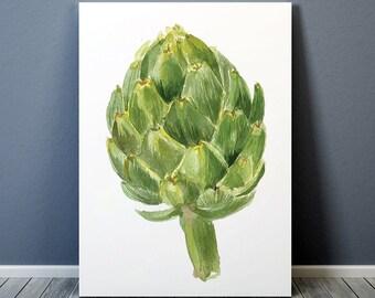 Vegetable print Artichoke poster Kitchen art Watercolor print ACW307