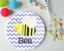Buzz Buzz - Personalized Kids Plate - Bee Plate - Custom Plate - Christmas Gift - Child Plate - Animal Plate