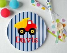 Dump Truck - Personalized Kids Plate - Dump Truck Plate - Custom Plate - Christmas Gift - Child Plate - Construction Plate - Melamine Plate