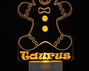Gingerbread Man Light Sensor LED Night Light, Personalized Custom LED Nightlight