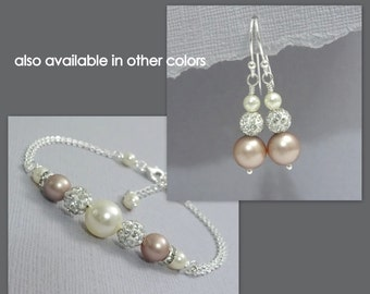 Swarovski Ivory Pearl and Champagne (Powder Almond)  Bridesmaid Bracelet and Earring Set, Personalized Bridesmaid Jewelry Gift Set