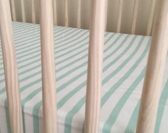 Mint Stripes Crib Sheet, stripes, mint baby nursery bedding, gender neutral, fitted crib sheet, mint baby bedding, baby boy, baby girl crib