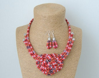 fabric cord necklace, red necklace, knot necklace, tribal necklace