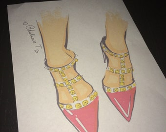 Fashion Illustration Print valentino high heels