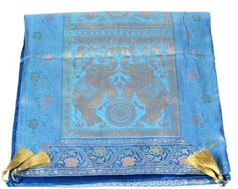 Indian Silk broket Rectangle Table Runner With elephant design sky blue color 17x72 inches