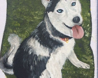 Adorable hand painted and signed portrait of a husky, painted in acrylic on box canvas with mini easel.