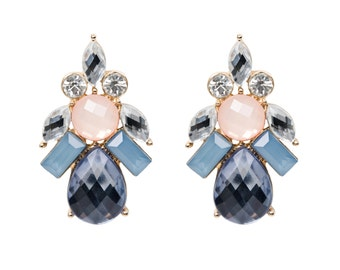 Floral Pastel Jewel Cluster Earrings