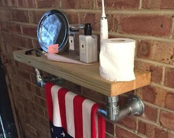 Industrial Bathroom Shelf and Rail