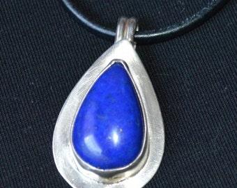 Blue Lapis Pendant/ Lapis Necklace/ Lapis Silver Pendant