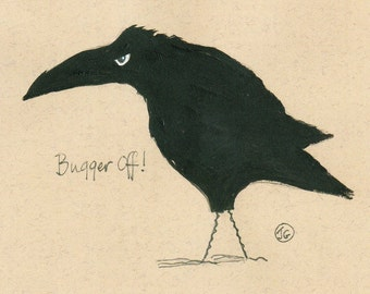 Blank Greeting Card. Birthday Card. Pack Of 5 Grumpy Crows Funny Greeting Cards. Humourous Greeting Cards From Original Artwork
