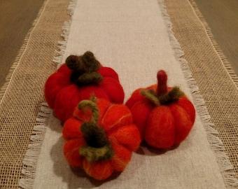 Wool Felted Orange Pumpkins, set of 3