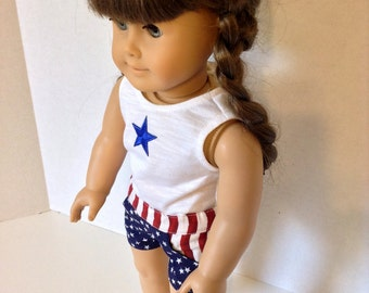 18 Inch Doll Clothes, Tank Top and Shorts, Stars and Stripes, Patriotic, Red White and Blue Set