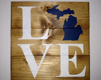 Michigan Love Wood Sign
