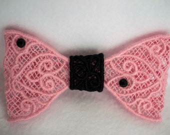 Black and Pink lace hair bow